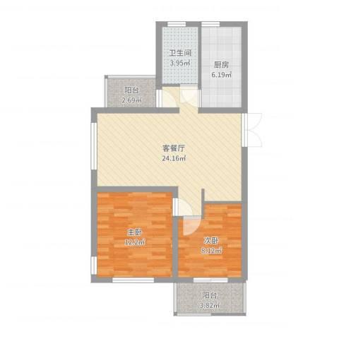 国信上城・学府2室2厅1卫1厨76.00㎡户型图