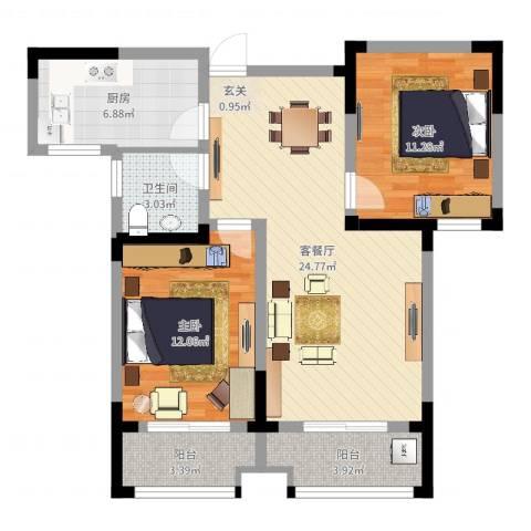 名园臻舍2室2厅1卫1厨82.00㎡户型图