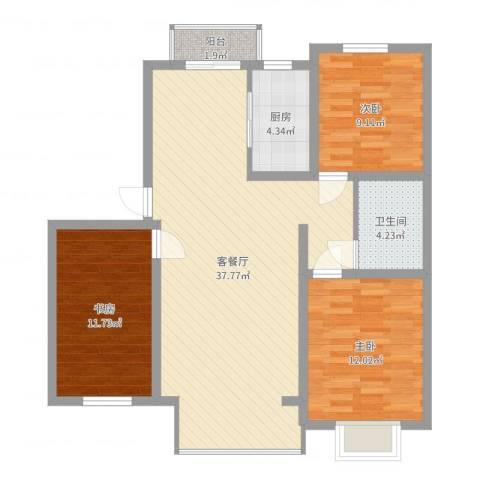 滨河湾3室2厅1卫1厨101.00㎡户型图