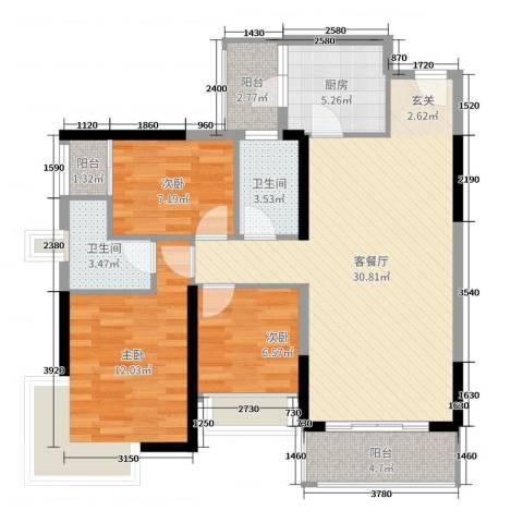 丽丰棕榈彩虹3室2厅2卫1厨107.00㎡户型图