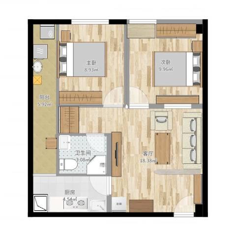 司南3空间2室1厅1卫1厨64.00㎡户型图