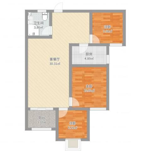 融广春天3室2厅1卫1厨84.00㎡户型图