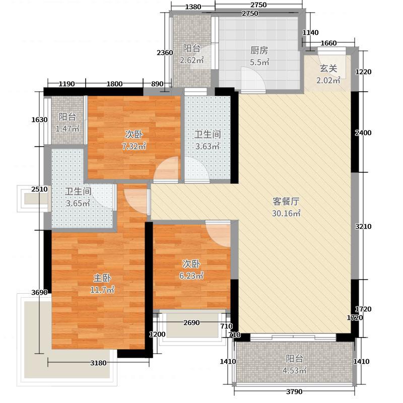 丽丰棕榈彩虹107.00㎡4幢02户型3室3厅2卫1厨