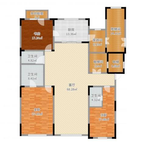 中海紫金苑3室1厅3卫1厨245.00㎡户型图