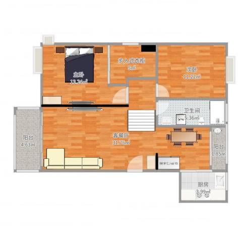 东苑古龙城2室2厅1卫1厨106.00㎡户型图