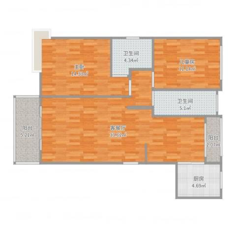 东苑古龙城2室2厅2卫1厨106.00㎡户型图