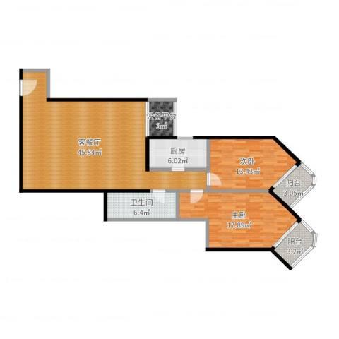 盛今大厦2室2厅1卫1厨124.00㎡户型图
