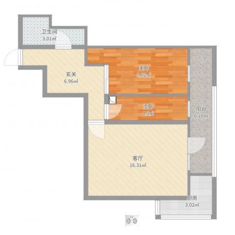 西直门南大街小区2室1厅1卫1厨61.00㎡户型图