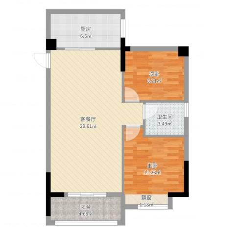 观澜御苑二期观澜御�台2室2厅1卫1厨80.00㎡户型图