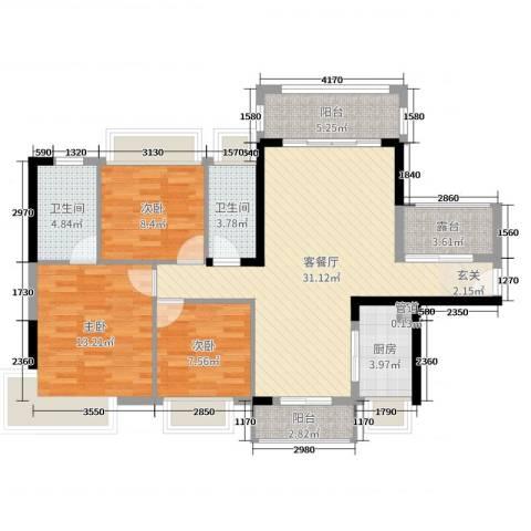 鸿安御花园3室2厅2卫1厨114.00㎡户型图