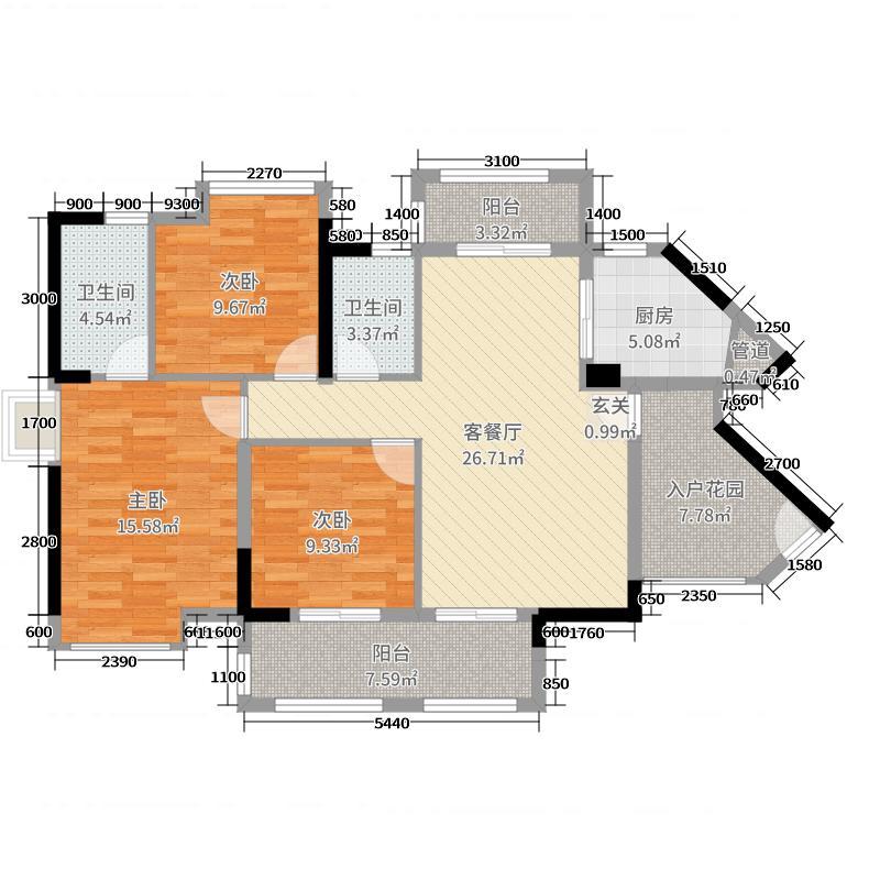 碧桂园翠湖湾108.47㎡1/6栋01/04户型3室3厅2卫1厨