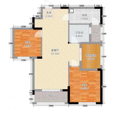 天瑞公馆2室2厅1卫1厨117.00㎡户型图