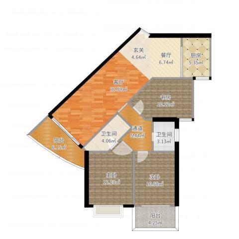 东海嘉园3室1厅2卫1厨115.00㎡户型图