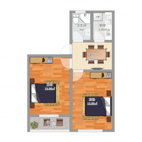 岭南路539弄2室1厅1卫1厨54.00㎡户型图