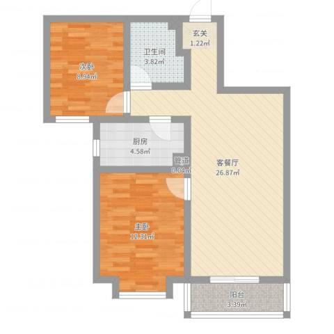 唐山金域蓝湾2室2厅1卫1厨75.00㎡户型图
