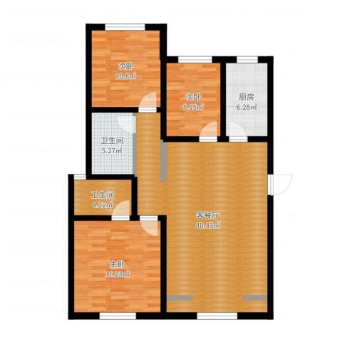 东湖庄园3室2厅2卫1厨114.00㎡户型图