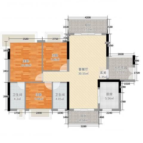 丽丰棕榈彩虹3室2厅2卫1厨122.00㎡户型图