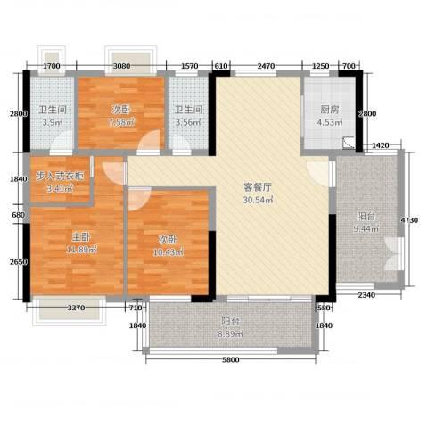 经纬凯旋城3室2厅2卫1厨118.00㎡户型图