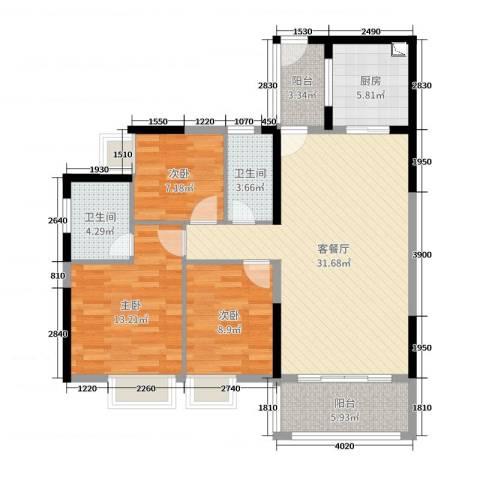 经纬凯旋城3室2厅2卫1厨109.00㎡户型图