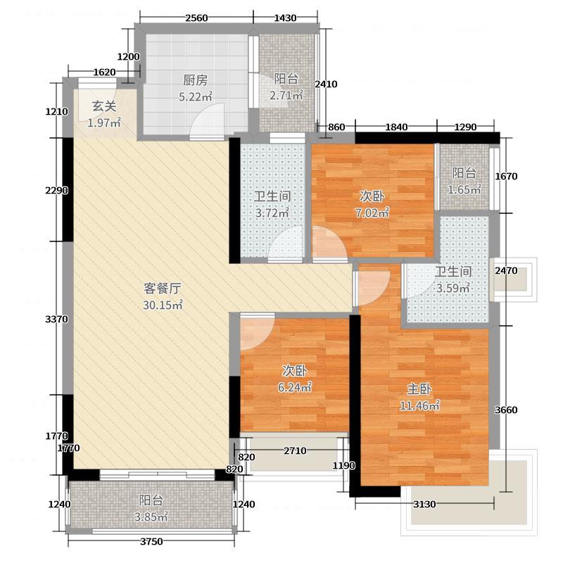 丽丰棕榈彩虹106.00㎡6幢01户型3室3厅2卫1厨