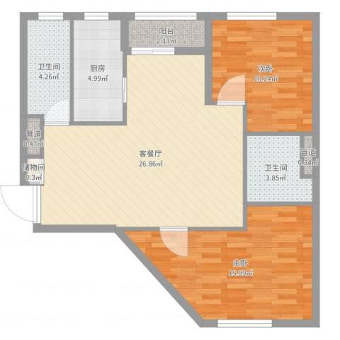 绿地豪生酒店式公寓2室2厅4卫1厨86.00㎡户型图