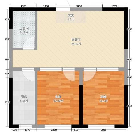 阳光小镇二期2室2厅1卫1厨86.00㎡户型图