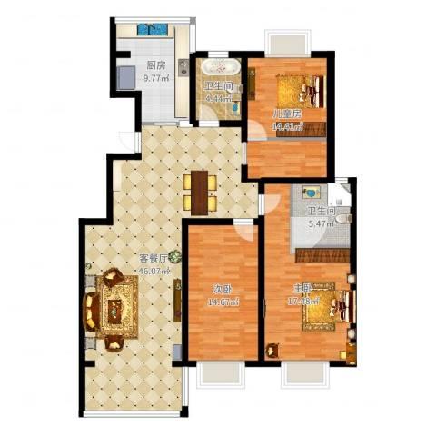 金地城三期御领3室2厅2卫1厨140.00㎡户型图