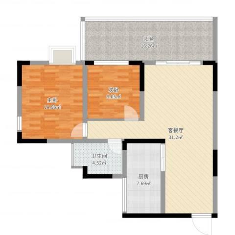 上河鹂岛2室2厅1卫1厨104.00㎡户型图