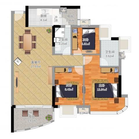 朗悦君廷3室2厅2卫1厨94.00㎡户型图