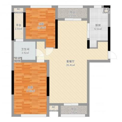 佘山假日半岛公寓2室2厅1卫1厨104.00㎡户型图
