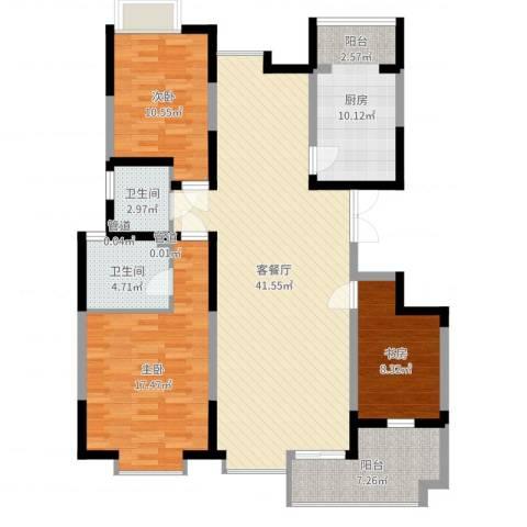 天地源曲江华府3室2厅2卫1厨129.00㎡户型图