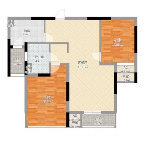 佘山假日半岛公寓2室2厅1卫1厨96.00㎡户型图