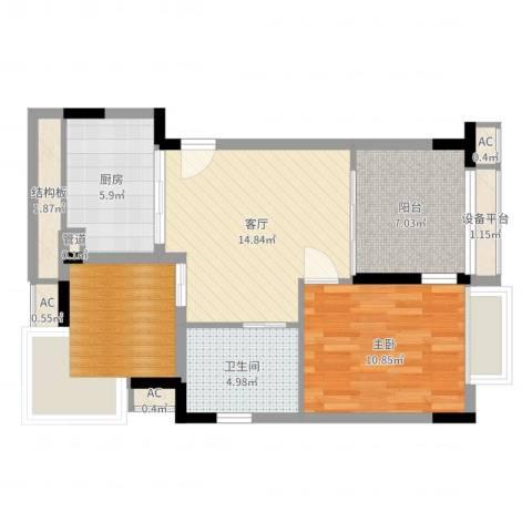 太湖天城1室1厅1卫1厨68.00㎡户型图