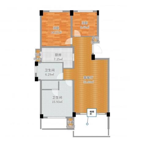 锦麟瓜渚御景园2室2厅2卫1厨110.00㎡户型图