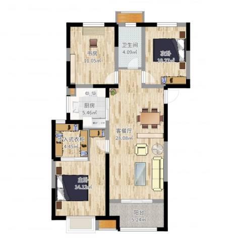 红豆人民路九号3室2厅1卫1厨106.00㎡户型图