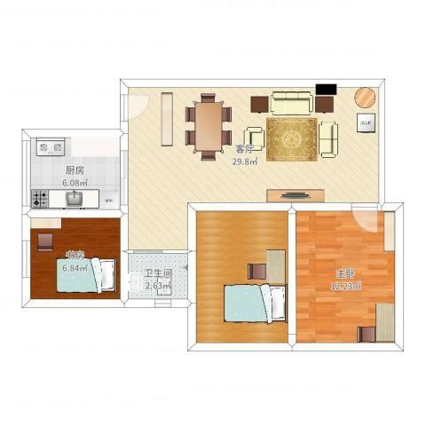 杏花苑小区2室1厅1卫1厨86.00㎡户型图
