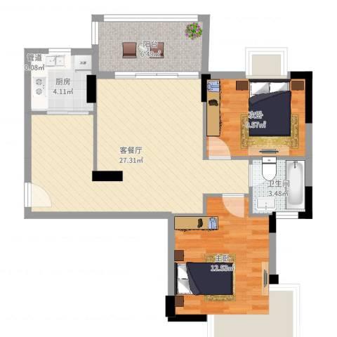 湖畔春天2室2厅1卫1厨63.57㎡户型图