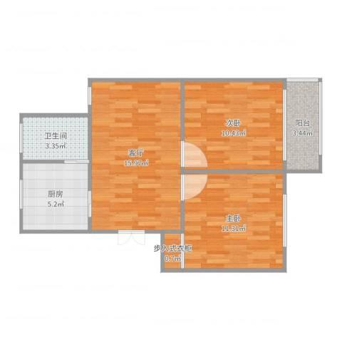 真光一街坊2室1厅1卫1厨63.00㎡户型图