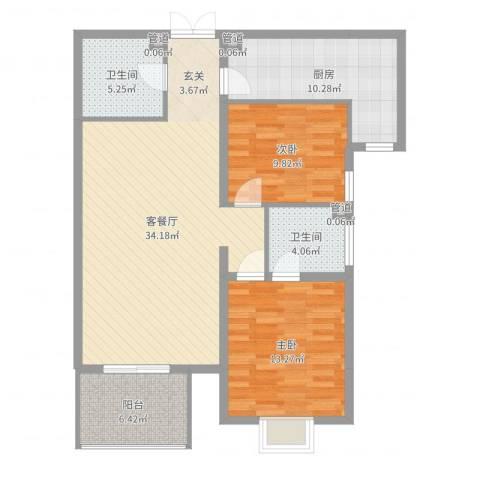 观筑庭园公寓2室2厅2卫1厨104.00㎡户型图