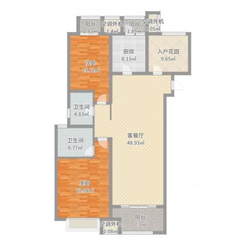 九龙仓擎天半岛2室2厅2卫1厨162.00㎡户型图