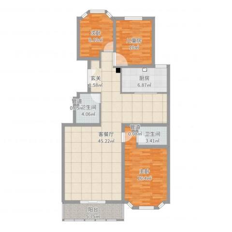 西安锦园3室2厅4卫1厨125.00㎡户型图