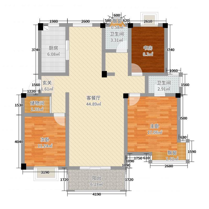 力高共和城熙伍园128.00㎡西区一期户型3室3厅2卫1厨
