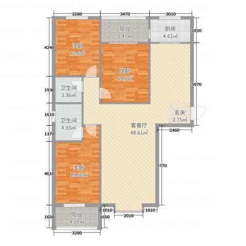来福花园3室2厅2卫1厨113.12㎡户型图