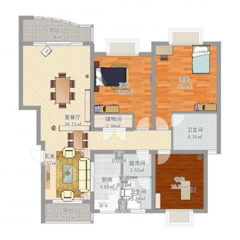 何山花园3室2厅2卫1厨137.00㎡户型图