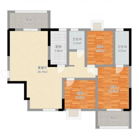 新都华城3室2厅2卫1厨121.00㎡户型图