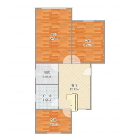 红明一村3室1厅1卫1厨56.51㎡户型图