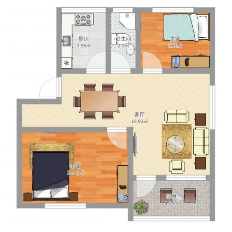 侨联社区新城区2室1厅1卫1厨61.00㎡户型图