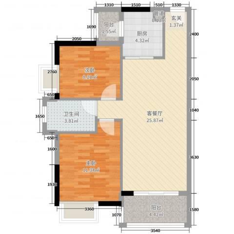 富盈公馆2室2厅1卫1厨78.00㎡户型图