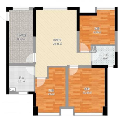 曲江城市花园3室2厅1卫1厨87.00㎡户型图