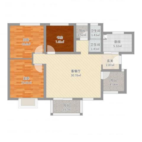 世纪之门3室2厅2卫1厨100.00㎡户型图